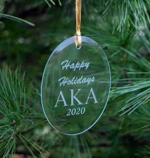 Alpha Kappa Alpha Holiday Glass Oval Ornaments
