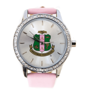 Alpha Kappa Alpha Sorority Leather Band Watch w/ Shield