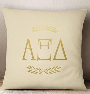 Alpha Xi Delta Foil Letters Pillow