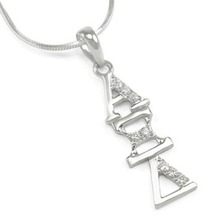 Alpha Xi Delta Sterling Silver Lavaliere set with Lab-Created Diamonds