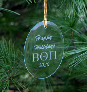 Beta Theta Pi Holiday Glass Oval Ornaments