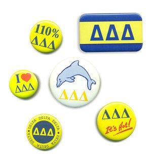 Delta Delta Delta Sorority Buttons 6-Pack