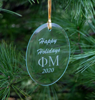 Phi Mu Holiday Glass Oval Ornaments