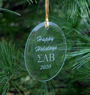 Sigma Lambda Beta Holiday Glass Oval Ornaments