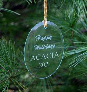 ACACIA Holiday Glass Oval Ornaments
