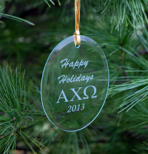 Alpha Chi Omega Holiday Glass Ornaments