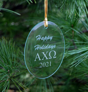 Alpha Chi Omega Holiday Glass Oval Ornaments