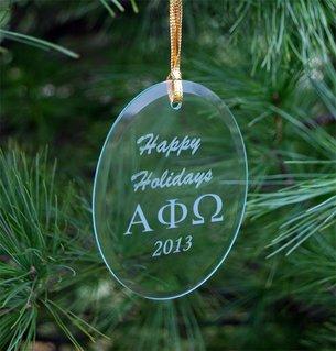 Alpha Phi Omega Greek Holiday Glass Ornaments