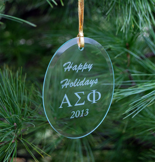 Alpha Sigma Phi Greek Holiday Glass Ornaments