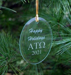 Alpha Tau Omega Holiday Glass Oval Ornaments