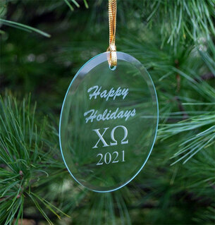 Chi Omega Holiday Glass Oval Ornaments