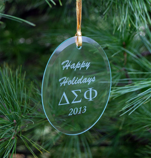 Delta Sigma Phi Greek Holiday Glass Ornaments