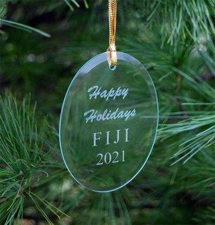 FIJI Fraternity Holiday Glass Oval Ornaments