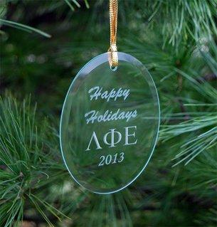 Lambda Phi Epsilon Greek Holiday Glass Ornaments
