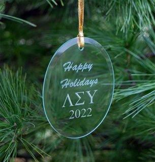 Lambda Sigma Upsilon Holiday Glass Oval Ornaments