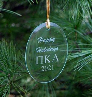 Pi Kappa Alpha Holiday Glass Oval Ornaments
