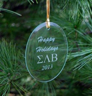 Sigma Lambda Beta Greek Holiday Glass Ornaments