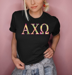 Alpha Chi Omega Flower Garden Lettered Short Sleeve T-Shirt
