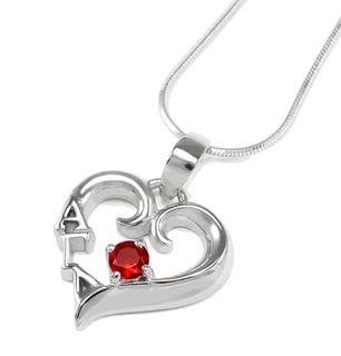 Alpha Gamma Delta Sterling Silver Heart Pendant (red)