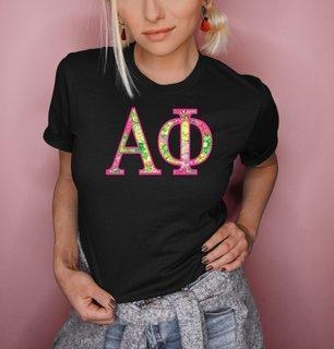 Alpha Phi Flower Garden Lettered Short Sleeve T-Shirt