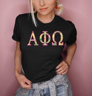 Alpha Phi Omega Flower Garden Lettered Short Sleeve T-Shirt