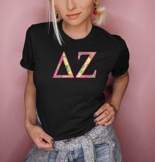 Delta Zeta Flower Garden Lettered Short Sleeve T-Shirt