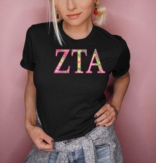 Zeta Tau Alpha Flower Garden Lettered Short Sleeve T-Shirt