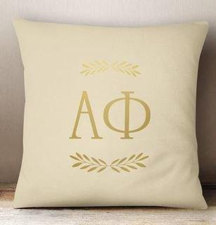Alpha Phi Foil Letters Pillow