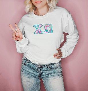Chi Omega Pastel Floral Letter Crewneck Sweatshirt