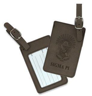 Sigma Pi Crest Leatherette Luggage Tag