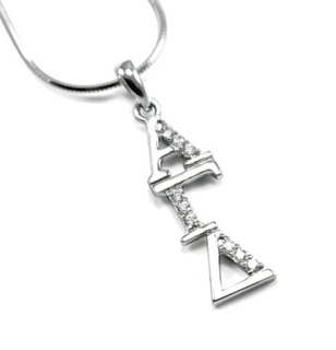 Alpha Gamma Delta Sterling Silver Lavaliere set with Lab-Created Diamonds