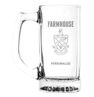 FarmHouse Fraternity Glass Engraved 25 Ounce Mug
