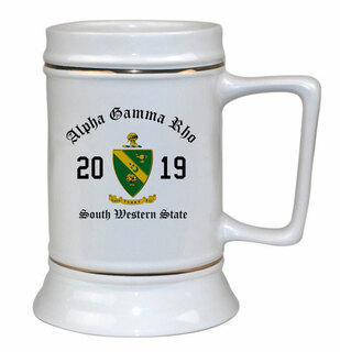 Alpha Gamma Rho Ceramic Crest & Year Ceramic Stein Tankard - 28 ozs!