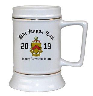 Phi Kappa Tau Ceramic Crest & Year Ceramic Stein Tankard - 28 ozs!