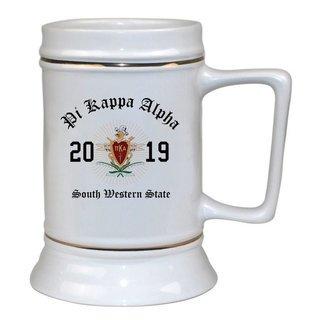 Pi Kappa Alpha Ceramic Crest & Year Ceramic Stein Tankard - 28 ozs!