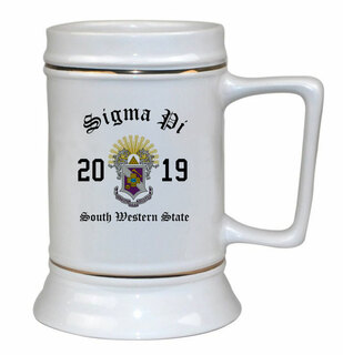 Sigma Pi Ceramic Crest & Year Ceramic Stein Tankard - 28 ozs!