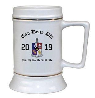 Tau Delta Phi Ceramic Crest & Year Ceramic Stein Tankard - 28 ozs!