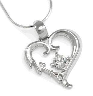 Zeta Tau Alpha Sterling Silver Heart Pendant with Swarovski Clear Crystal