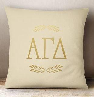 Alpha Gamma Delta Foil Letters Pillow