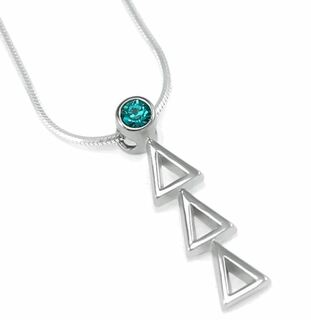 Delta Delta Delta Sterling Silver Lavaliere with Swarovski� Cerulean Colored Crystal