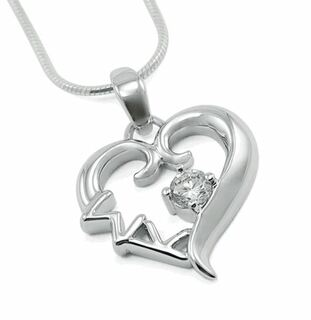 Sigma Kappa Sterling Silver Heart Pendant with Swarovski Clear Crystal