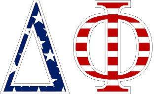 "Delta Phi American Flag Greek Letter Sticker - 2.5"" Tall"