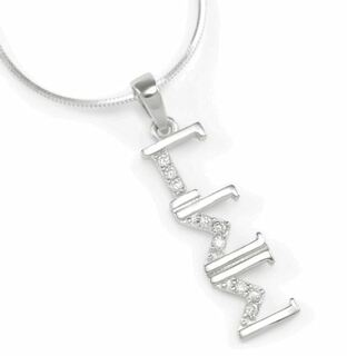 Gamma Sigma Sigma sterling silver lavaliere set with simulated diamonds