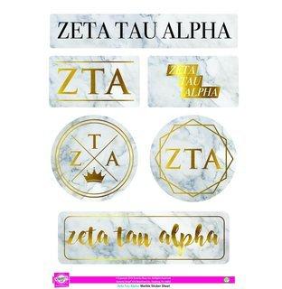 Zeta Tau Alpha Marble Sticker Sheet