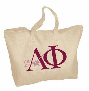 Alpha Phi Mascot Zippered Tote Bag