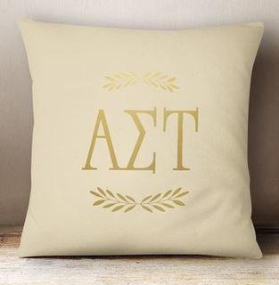 Alpha Sigma Tau Foil Letters Pillow