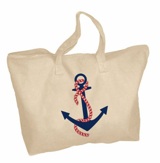 Delta Gamma Anchor Mascot Zippered Tote Bag