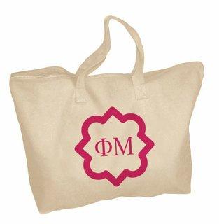 Phi Mu Mascot Zippered Tote Bag