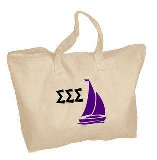 Sigma Sigma Sigma Mascot Zippered Tote Bag