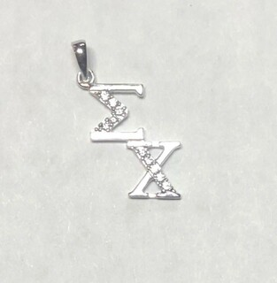 Super Savings - Sigma Chi Sterling Silver Diagonal Lavaliere set with Lab-Created Diamonds - SILVER 1 of 3